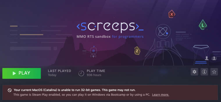 Screenshot of the Steam page